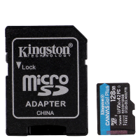 Карта памяти Kingston microSDXC Memory Card 128Gb V30 UHS-I U3 + SD адаптер